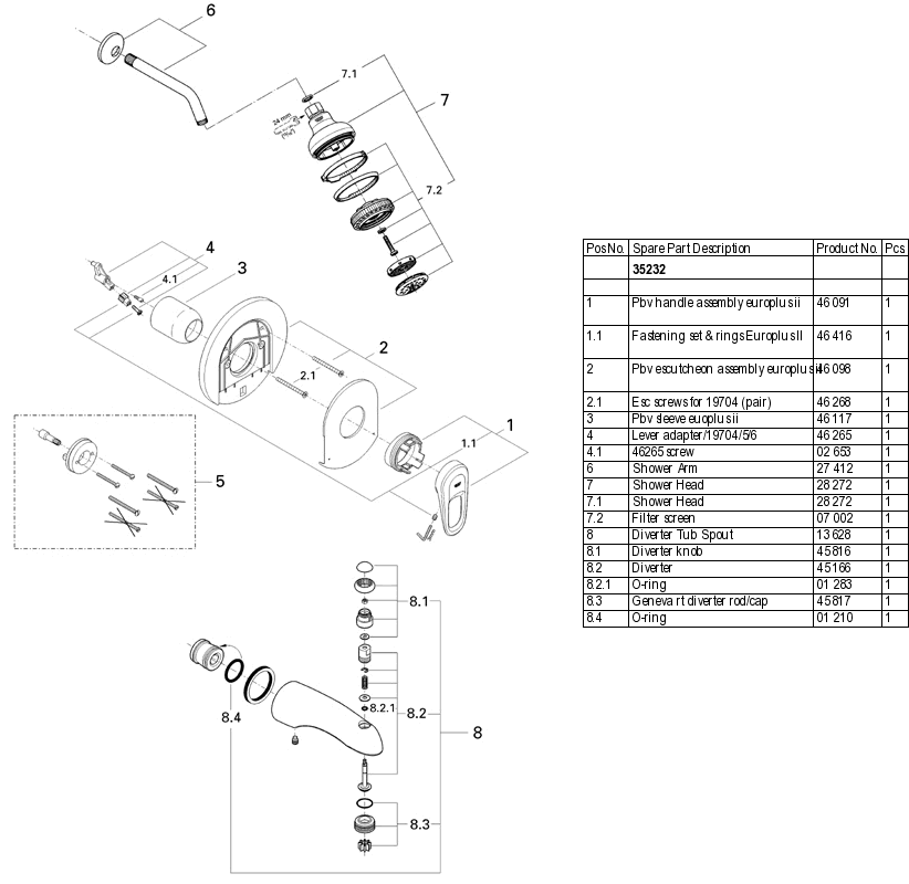 Grohe 35 232 Tub and Shower Parts