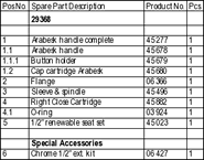 Arabesk 29368 Parts List